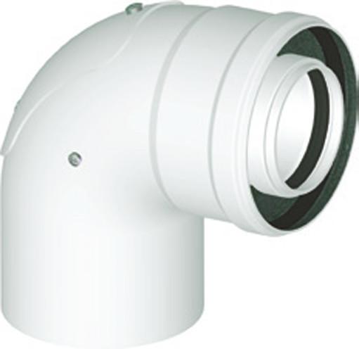 Koaxialbogen 90° mit Revisionsöffnung DN 80/125 Universal Abgaszubehör Formteile Brennwertkessel