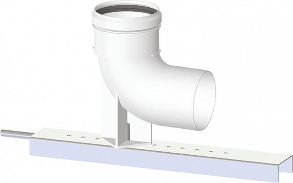 Kunststoff-Abgassystem - Bogen 90 ° Stützbogen mit Trägerschiene DN 80