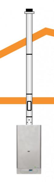 Abgas-Set Senkrecht d: 80/125 mm Mit Dachdurchfühtung und Außentemperaturfühler ab 3 m