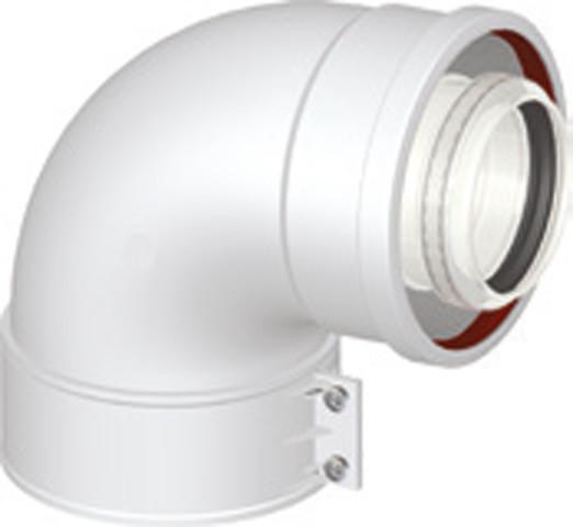 Kesselanschlussstück 90° Bogen DN 60/100 PP/AL kompatibel zu Vaillant Brennwertabgassystem Geräteflang