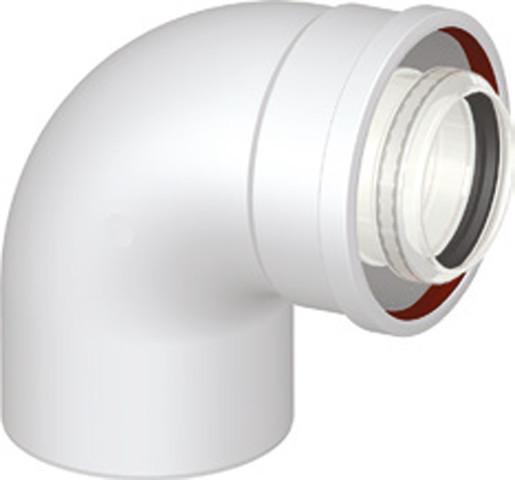 Koaxialbogen 90° DN 60/100 Universal Abgaszubehör Formteile Brennwertkessel