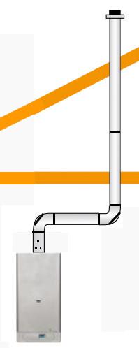 Abgas-Set senkrecht mit 2 Bögen ab 3m und Außentemperaturfühler