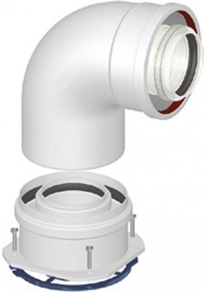 Kesselanschlussstück 90° Bogen DN 60/100 PP/AL kompatibel zu Bosch Junkers Brennwertabgassystem Geräte-Copy